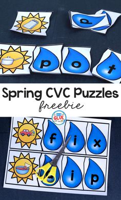 These Spring CVC Puzzles are the PERFECT addition to your early literacy or Spring themed centers. #kidsactivities #earlylearning #literacy