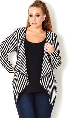 Plus Size Super Stripe Jacket - City Chic - City Chic Curvy Girl Fashion, Plus Size Fashion, Womens Fashion, Fashion Trends, Petite Fashion, Fashion Bloggers, Fashion Fashion, Pretty Outfits, Cute Outfits