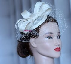 champagne wedding fascinator, kentucky derby hat, sinamay coctail hat, ivory wedding headpiece