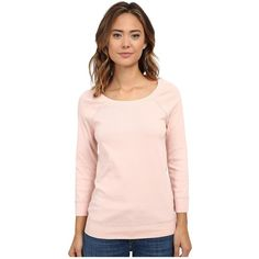 Three Dots 3/4 Open Neck Sweatshirt Women's Sweatshirt ($74) ❤ liked on Polyvore featuring tops, hoodies, sweatshirts, pullover sweatshirts, pink top, pink sweat shirt, loose fitting tops and cotton sweat shirts