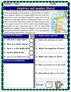 Syria Reading Comprehension - My Reading Kids Kids Reading, Love Reading, Summative Test, Reading Material, Syria, Reading Comprehension, Lesson Plans, Classroom, Printables