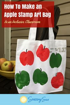 Whether you're planning a trip to the orchard for apple picking or might like a new book bag, this apple stamp project is the perfect Fall activity for kids with visual impairments or any sight level! Find More Resources for Children with Visual Impairments   How to Make an Apple Stamp Art Bag