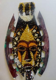 African Mask made from Beans