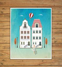 houses print white houses decor house print by Ilustracionymas