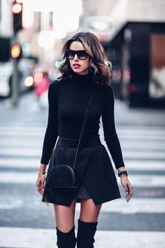 All Black outfit - mini skirt, turtleneck sweater + cross body tassel bag