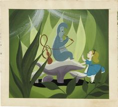 "Mary Blair - ""Alice in Wonderland"" Animation Concept Painting Original Art (Disney, Mary - Available at 2007 Vintage Comics Signature. Mary Blair, Alice In Wonderland Animated, Glenn Arthur, Disney Artists, Disney Concept Art, Disney Kunst, Adventures In Wonderland, Children's Book Illustration, Digital Illustration"
