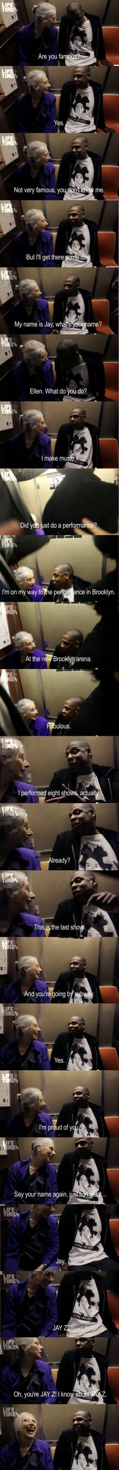 "My life goal: to be the Granny who sits beside Jay Z on the subway. ""Oh, you're Jay Z! I know Jay Z! Funny Cute, The Funny, Hilarious, Daily Funny, Super Funny, Funny Today, Crazy Funny, Your Smile, Make You Smile"