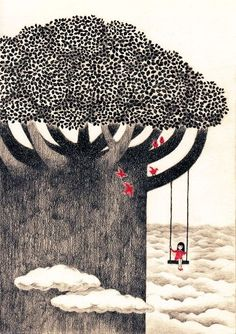 Whimsical tree and swing above the world