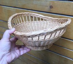 Great all purpose basket. Oval shaped 11 X 10 inches 6 inches high Colour is more according last 2 pictures.