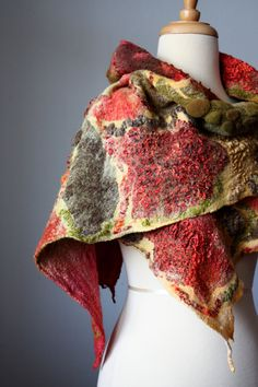 Felted scarf  shawl  Wool Silk  Red Yellow Brown Sage Chocolate
