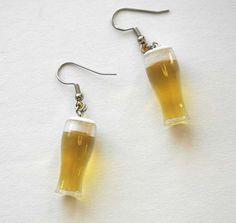 Beer Stein Earrings by supercutefactory on Etsy, $25.00