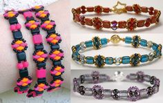 Free Beaded Bracelet Pattern using the two-hole brick bead and super duo.