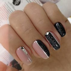 One of the most popular nail art is black manicure and is popular among girls and women of different ages. Black manicure is suits any style Black Nail Designs, Gel Nail Designs, Nails Design, Black Nails, Pink Nails, Black Manicure, Black Glitter, Cute Nails, Pretty Nails