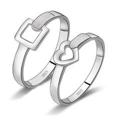 Custom Name Engraved love heart 925 sterling silver pair promise bands
