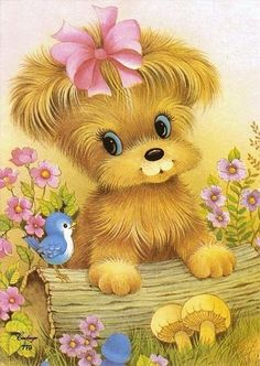 Vintage Greeting Cards – Vintage and antique items Cute Animals Images, Cute Images, Animal Pictures, Cute Pictures, Illustration Mignonne, Cute Illustration, Cute Drawings, Animal Drawings, Cartoon Mignon