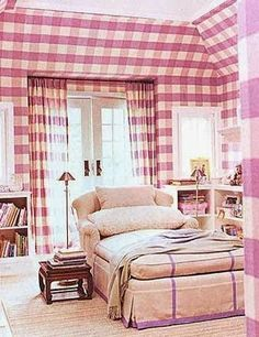 Pretty and personality-filled sitting area in girls bedroom by Jeffrey Bilhuber covered in one of his signature finishes, giant buffalo check. Guest Bedrooms, Girls Bedroom, Master Bedroom, Living Spaces, Living Room, Drapes Curtains, Check Curtains, Beautiful Bedrooms, Kitchen Interior