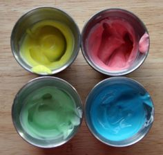 the beauty of this paint is that it's okay to eat it! We used plain, unsweetened, unflavored yogurt, so it's not so tasty on its own that the kid wants to eat it all and not paint with it.