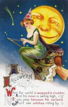 All Halloween Witch on a Broom by Full Moon Scene - Vintage Holiday Art (11.5x18 Gallery Quality Metal Art), Multi