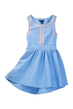 Image of Tommy Hilfiger Chambray Embroidered Dress (Big Girls)