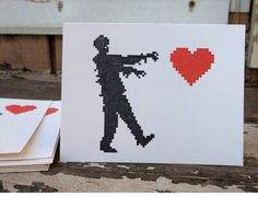 Zombie Love Valentine's Day cards set of 4