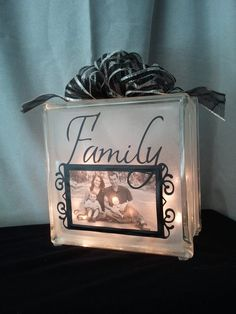 Items similar to Decorative Glass Block Night Light with Photo Frame on Etsy Painted Glass Blocks, Decorative Glass Blocks, Lighted Glass Blocks, Glass Cube, Glass Boxes, Cute Crafts, Crafts To Make, Diy Projects To Try, Craft Projects