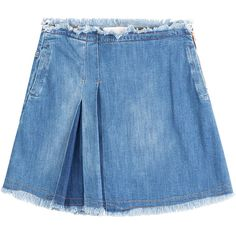 See by Chloé Pleated Jean Skirt ($137) ❤ liked on Polyvore featuring skirts, bottoms, clothing - skirts, blue, distressed skirt, blue skirt, pleated skirt, mini flare skirt and stretch skirts