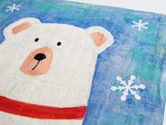 5letshop: Vidám jegesmedve festmény - gyerekszoba dekoráció  Wall art -  polarbear mixed media painting