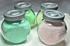 DIY bath salts. Epsom, sea salt, baking soda, essential oil, and food coloring. Cute gift.