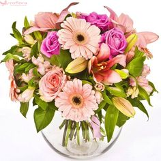 Pink deluxe - Buchet din trandafiri, crini si gerbera Floral Wreath, Bouquet, Wreaths, Decor, Horsehair, Floral Crown, Decoration, Door Wreaths, Bouquet Of Flowers