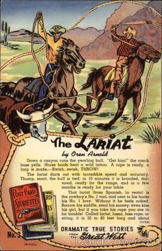 Linen Postcard The Lariat Cowboy Western Western Theme, Western Art, Western Cowboy, Western Store, Cowgirl And Horse, Cowboy Art, Cowboy Images, Western Crafts, Wild Tattoo