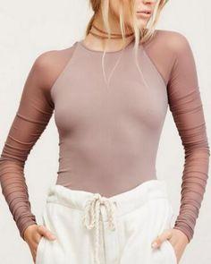 8fac3ddd890 Splice mesh t shirt for women plain tight tops long sleeve Mesh T Shirt