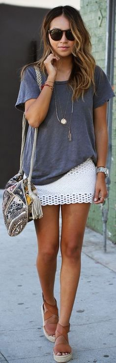White crochet skirt and grey loose t-shirt ( don't like the shoes but the rest of the outfit is cute)