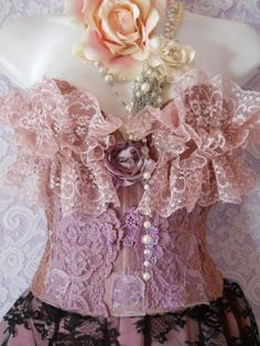 Bustiers:  Beautiful Dusty-Rose #Bustier with Lace.