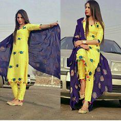 Chudidhar Designs, Kurta Designs, Indian Dresses, Indian Outfits, Indian Fashion, Womens Fashion, Embroidery Fashion, Indian Designer Wear, Punjabi Suits