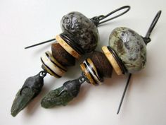 The Smell of Cinders and Rain -primitive industrial teal blue apatite stone, ceramic bead, wood, horn, soldered black metal bead cap earring by LoveRoot
