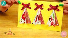 Tarjetas para regalar con moño en la punta del árbol