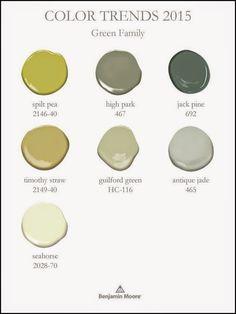 Benjamin Moore Color Trends 2015 -  green  color family