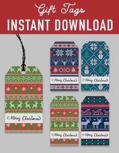 SALE Printable Christmas Gift Tags - ugly sweater christmas pattern - Printable DIY Christmas Tags - christmas decoration - christmas printables - instant download - favor labels wrapper - gift tags label - favor tags printable - Christmas DIY kit - DIY christmas - christmas print - xmas printable - christmas party - digital download - digital printable  -  Hershey's 1.55 oz - holiday printable - holiday DIY decoration -  holiday labels - printable christmas - party printable - seater… Diy Christmas Tags, Christmas Gift Tags Printable, Christmas Printables, Xmas, Printable Labels, Party Printables, Diy Decoration, Ugly Sweater, Favor Tags