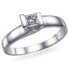 Anillo de compromiso en oro blanco con diamante de 0.50 ct (elige el tamaño que quieras)