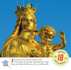 The stunning Mary and Christ Child on top of the Cathedral are made of copper gilded with gold leaf. #France #Wanderlust  #BestoftheDay #Instagood #Traveling #Vacation #travel