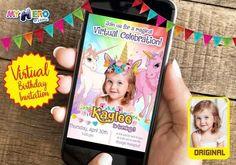 Unicorns Virtual Birthday Invitation