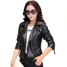 Gender: Women Outerwear Type: Leather & Suede Decoration: Pockets,Button,Zippers Clothing Length: Regular Brand Name: Brand New Style: Fashion Closure Type: Zipper Material: Faux Leather Collar: Turn-