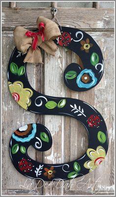 monogram letter initial door decor door art spring by ladeedahart, $40.00