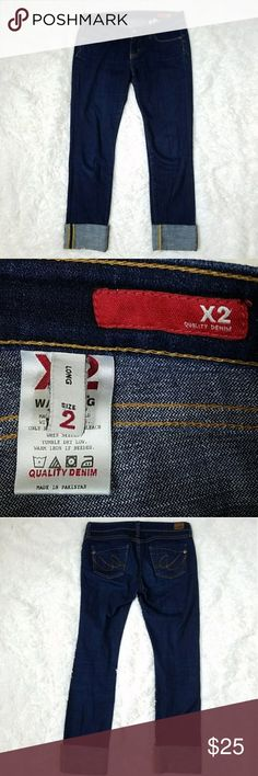 "Express X2 Skinny Jeans Express X2 Skinny Jeans. Size 2 Long. Can be worn cuffed as shown or uncuffed. There is a little fraying visible when uncuffed, but nothing major.  99% cotton, 1% spandex.  15.25"" across the waist. 7"" rise. 34"" inseam uncuffed. 27"" inseam cuffed as shown. Express Jeans Skinny"