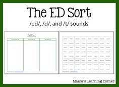 Just printed this off for review! The ED Sort using /ed/, /d/, and /t/ sounds - Mamas Learning Corner {designed for use with All About Spelling, works well with our Spell to Write and Read program}