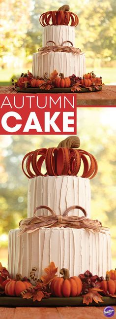 Impress your guests this fall with a towering, pumpkin-topped, two-tier autumn cake. Use Wilton Ready-To-Use Rolled Fondant to create all the realistic-looking, harvest-inspired decorations. It's the perfect centerpiece for your Thanksgiving dessert table Cupcakes, Cupcake Cakes, Beautiful Cakes, Amazing Cakes, Beautiful Beautiful, Thanksgiving Cakes, Rolling Fondant, Fall Cakes, Salty Cake