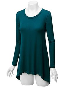 LL WT953 Womens Round Neck Long Sleeve Rib Trapeze Tunic Top Size Small