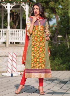 Multicolored Pure Handloom Cotton Straight Suit