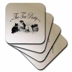 3dRose Tea Party Kittens- Cute Animal Art- Cats, Ceramic Tile Coasters, set of 4