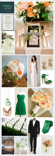 Emerald & Peach, loving the black and tan accents in the top pictures, adding a orangey peach gives it a more earthy, less polished look